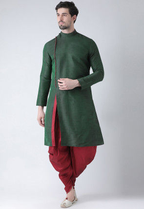 Solid Color Dupion Silk Dhoti Kurta in Dark Green