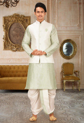Solid Color Dupion Silk Dhoti Kurta in Dusty Green and Cream