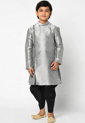 Solid Color Dupion Silk Dhoti Kurta in Grey