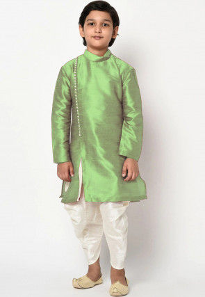 Solid Color Dupion Silk Dhoti Kurta in Light Green