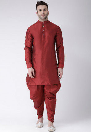 Solid Color Dupion Silk Dhoti Kurta in Maroon