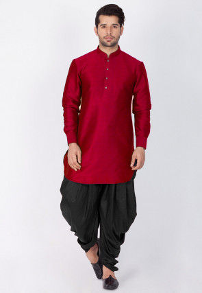 Solid Color Dupion Silk Dhoti Kurta in Maroon