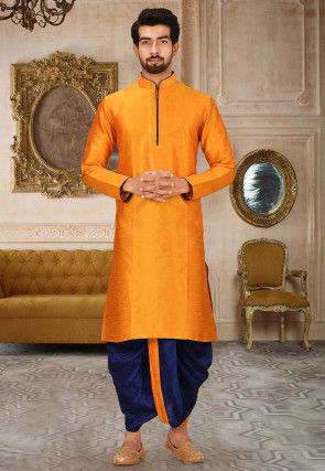 Solid Color Dupion Silk Dhoti Kurta in Orange