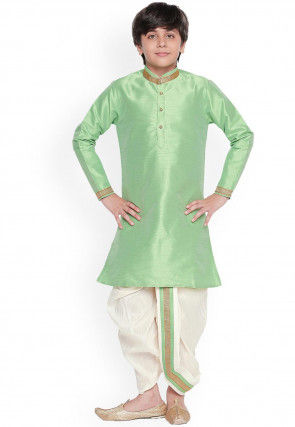 Solid Color Dupion Silk Dhoti Kurta in Pastel Green