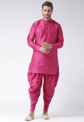 Solid Color Dupion Silk Dhoti Kurta in Pink