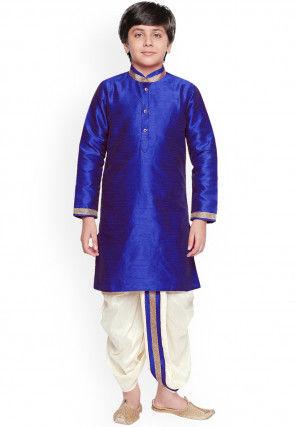 Solid Color Dupion Silk Dhoti Kurta in Royal Blue