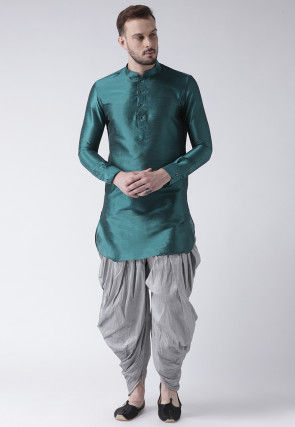 Solid Color Dupion Silk Dhoti Kurta in Teal Green