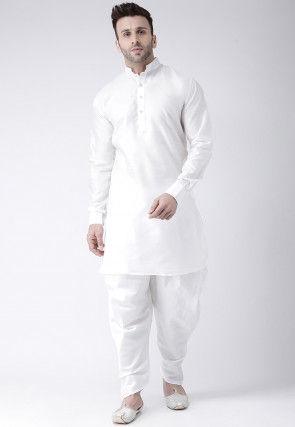 Solid Color Dupion Silk Dhoti Kurta in White