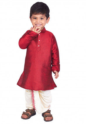 Solid Color Dupion Silk Dhoti Kurta Set in Red