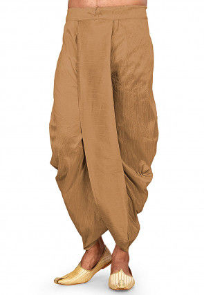 Solid Color Dupion Silk Dhoti Pant in Brown