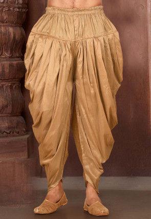 Solid Color Dupion Silk Dhoti Pant in Dark Beige