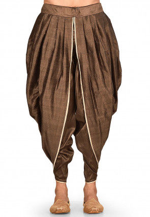Solid Color Dupion Silk Dhoti Pant in Dark Brown