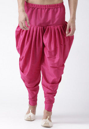 Solid Color Dupion Silk Dhoti Pant in Fuchsia