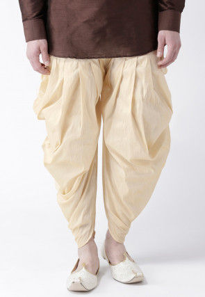 Solid Color Dupion Silk Dhoti Pant in Light Beige