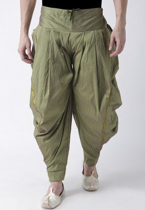 Solid Color Dupion Silk Dhoti Pant in Light Green