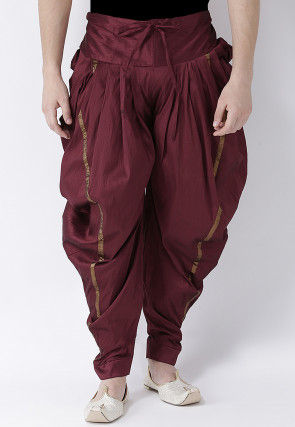 Solid Color Dupion Silk Dhoti Pant in Maroon