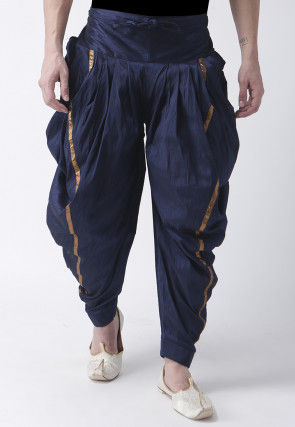 Solid Color Dupion Silk Dhoti Pant in Navy Blue