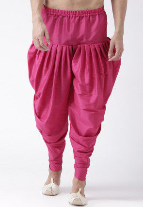 Solid Color Dupion Silk Dhoti Pant in Pink