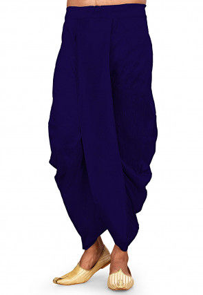 Solid Color Dupion Silk Dhoti Pant in Royal Blue