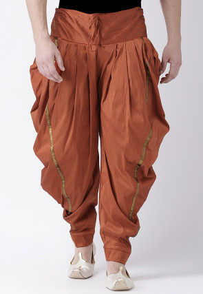 Solid Color Dupion Silk Dhoti Pant in Rust