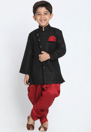 Solid Color Dupion Silk Dhoti Sherwani in Black