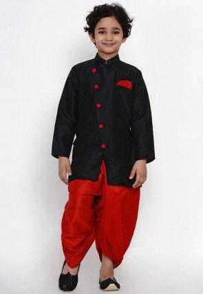 Solid Color Dupion Silk Dhoti Sherwani in Black