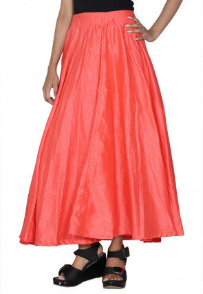 Solid Color Dupion Silk Flared Skirt in Peach