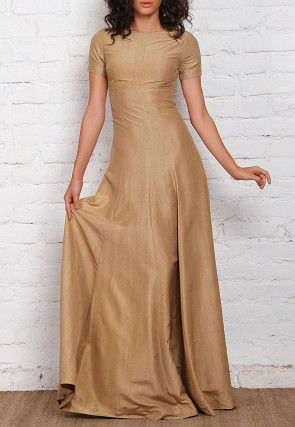 Solid Color Dupion Silk Gown in Beige