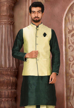 Solid Color Dupion Silk Jacket in Dusty Green