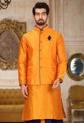 Solid Color Dupion Silk Jacket in Orange