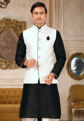 Solid Color Dupion Silk Jacket in White
