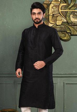 Solid Color Dupion Silk Kurta in Black