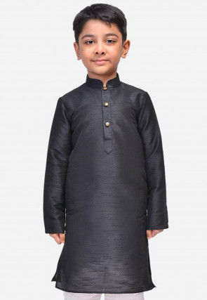 Solid Color Dupion Silk Kurta in Black