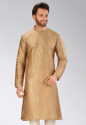 Solid Color Dupion Silk Kurta in Dark Beige
