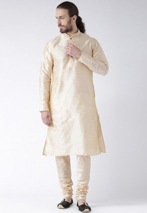 Solid Color Dupion Silk Kurta in Light Beige