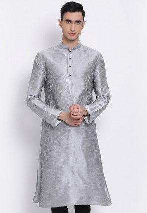 Solid Color Dupion Silk Kurta in Light Grey