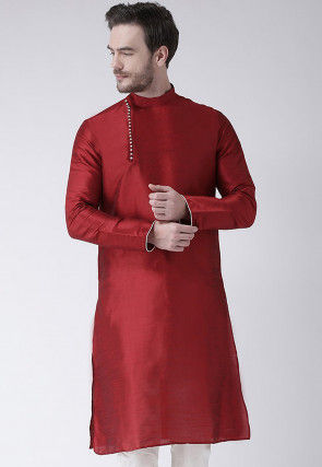 Solid Color Dupion Silk Kurta in Maroon