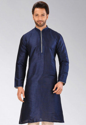 Solid Color Dupion Silk Kurta in Navy Blue