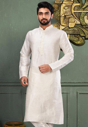 Solid Color Dupion Silk Kurta in Off White