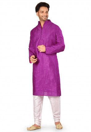 Solid Color Dupion Silk Kurta in Purple