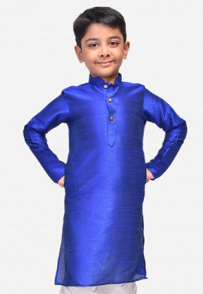 Solid Color Dupion Silk Kurta in Royal Blue