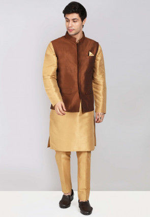 Solid Color Dupion Silk Kurta Jacket Set in Beige and Brown