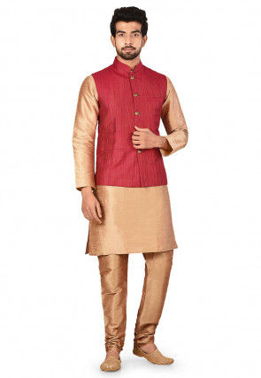 Solid Color Dupion Silk Kurta Jacket Set in Beige and Maroon