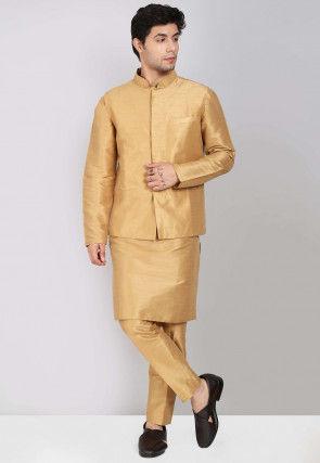 Solid Color Dupion Silk Kurta Jacket Set in Beige