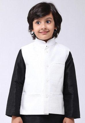 Solid Color Dupion Silk Kurta Jacket Set in Black