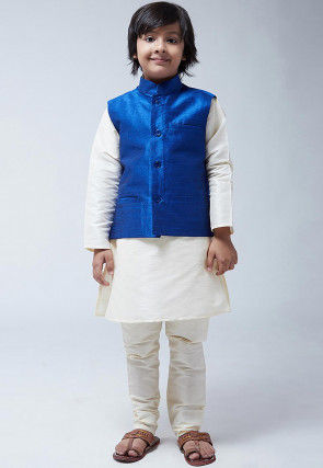 Solid Color Dupion Silk Kurta Jacket Set in Cream