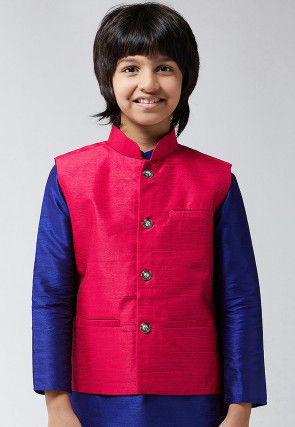Solid Color Dupion Silk Kurta Jacket Set in Royal Blue