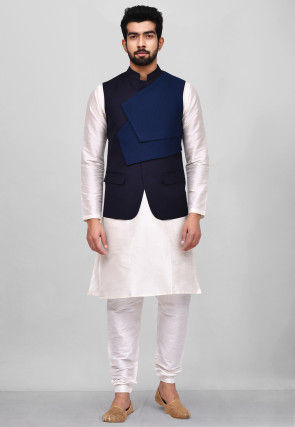 Solid Color Dupion Silk Kurta Jacket Set in White and Blue
