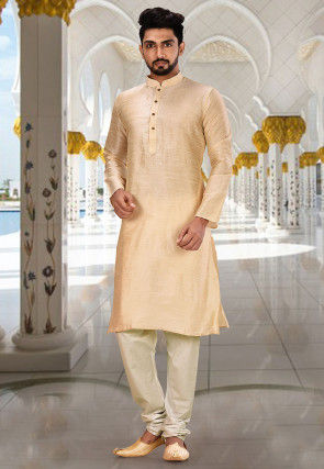Solid Color Dupion Silk Kurta Set in Light Beige and White