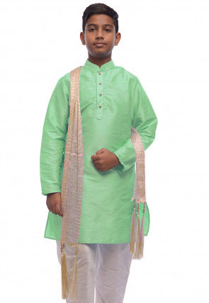 Solid Color Dupion Silk Kurta Set in Light Green